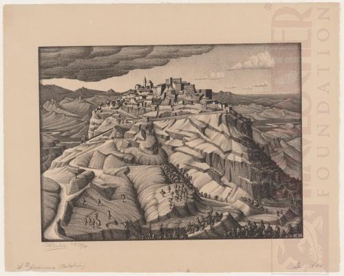 Santa Severina, Calabria. Februari 1931, Lithografie