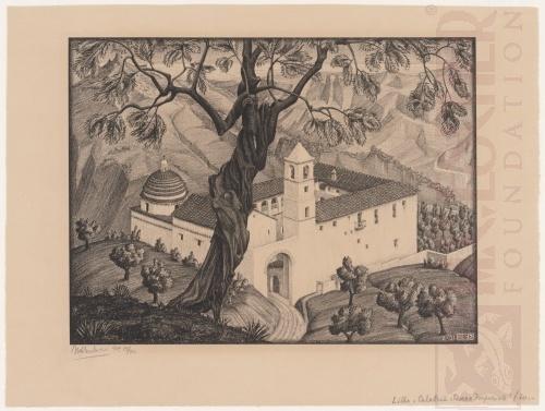 Klooster nabij Rocca, Calabria. Februari 1931, Lithografie