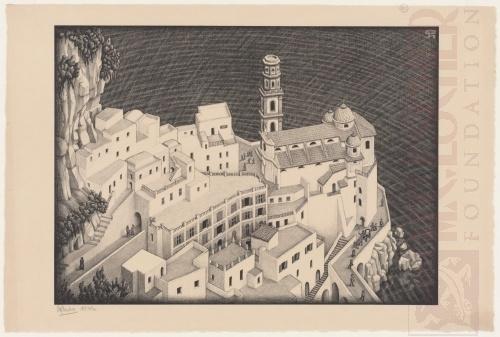 Atrani, Kust van Amalfi. Augustus 1931, Lithografie
