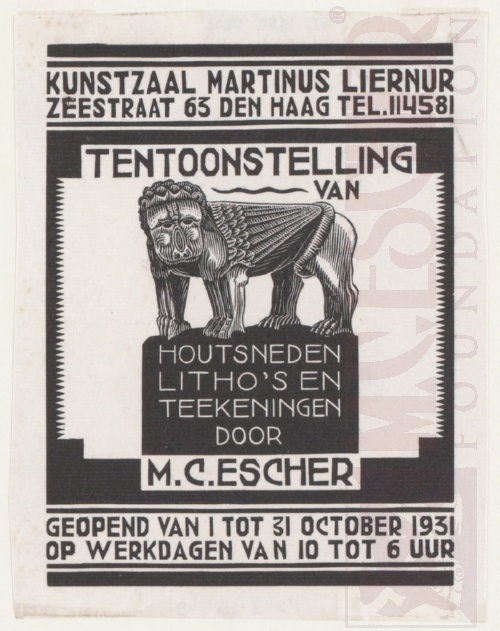 Uitnodiging voor een expositie van M.C. Escher, September 1931, Houtsnede