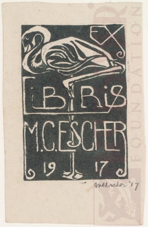 Ex Libris, M.C. Escher, 1917, Linoleumsnede