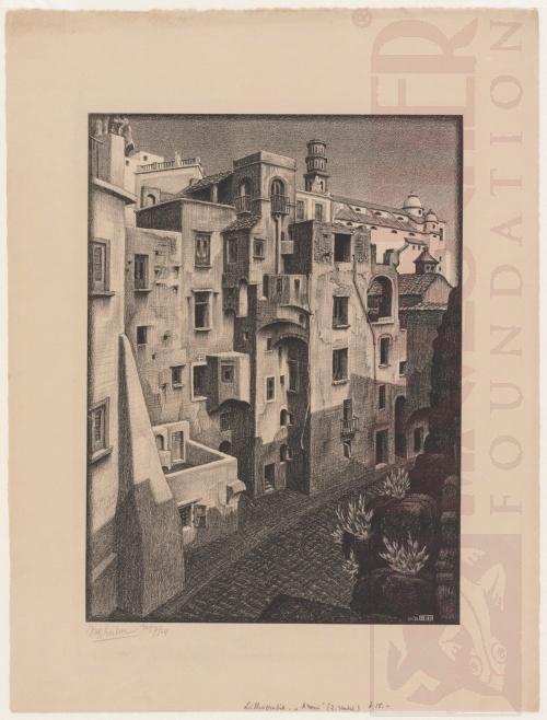 Vervallen huizen in Atrani. November 1931, Lithografie
