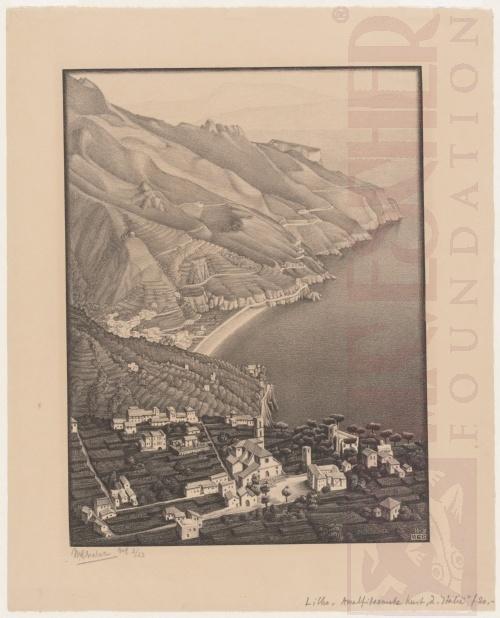 Ravello en de kust van Amalfi. November 1931, Lithografie