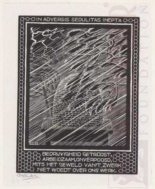 Emblemata, Bijenkorf. Maart-Juni 1931, Houtsnede