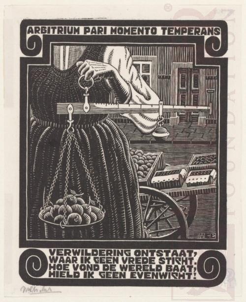 Emblemata, Weegschaal. Maart-Juni 1931, Houtsnede