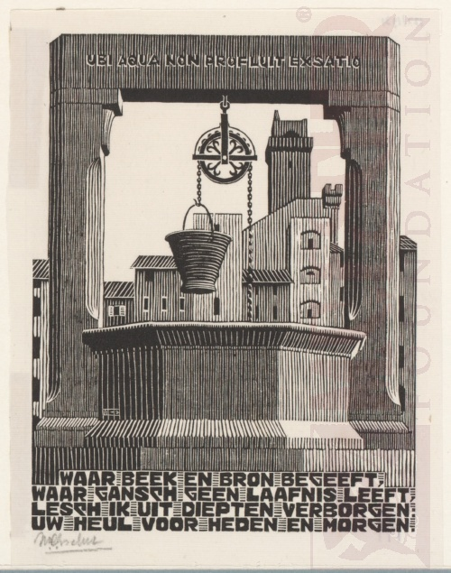 Emblemata,Waterput. Maart-Juni 1931, Houtsnede