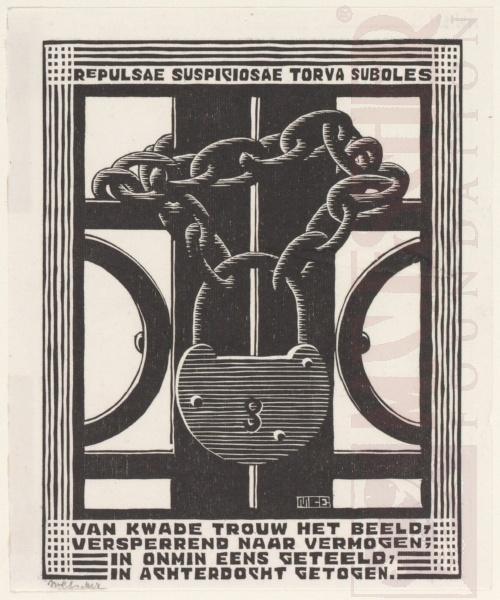 Emblemata,Hangslot. Maart-Juni 1931, Houtsnede