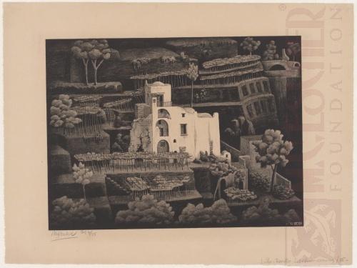 Boerderij, Ravello. Januari 1932, Lithografie