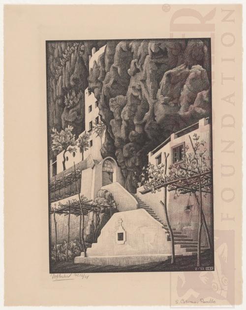 San Cosimo, Ravello. Februari 1932, Lithografie