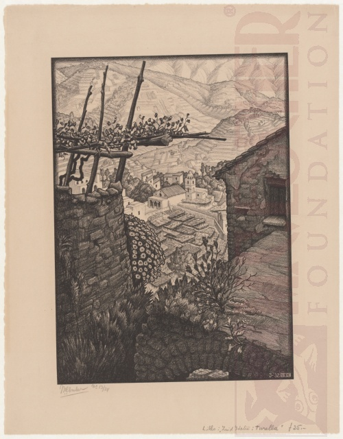 Het gehucht Turello, Zuid-Italië. Maart 1932, Lithografie