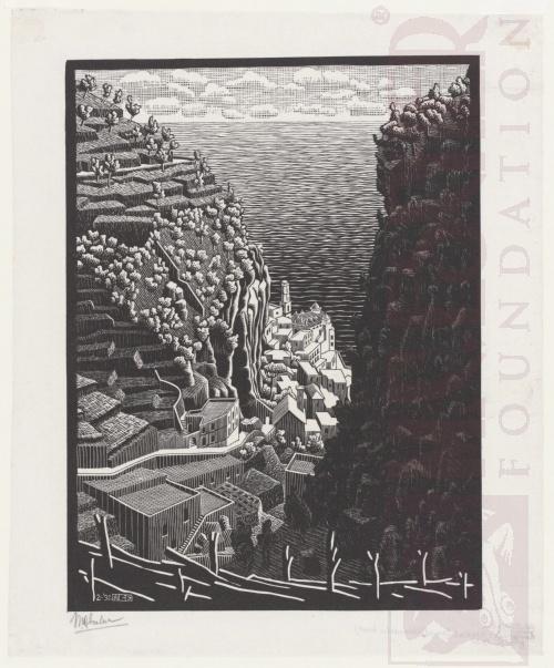 Atrani, de kust van Amalfi. Februari 1932, Houtsnede