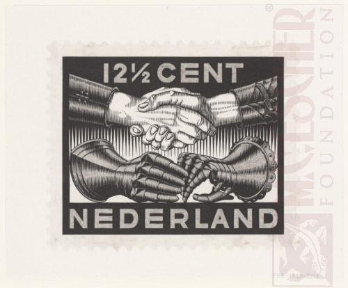 Ontwerp voor de vredes-postzegel. Maart 1932, Houtsnede en potlood