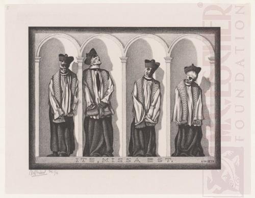 Gemummificeerde priesters in Gangi, Sicilië. Juni 1932, Lithografie