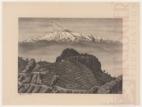 Kasteel Mola en de berg Etna, Sicilië. December 1932, Lithografie