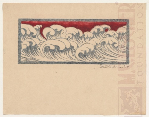 Golven - 1918. Linoleumsnede, waterverf in grijs en rood. 172mm x 71mm.