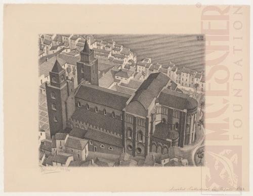 Kathedraal van Cefalu, Sicilië. December 1932, Lithografie