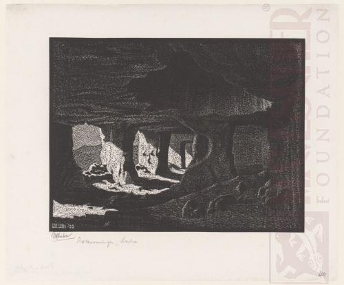 Grotwoningen bij Sperlinga, Sicilië. Januari 1933, Houtsnede