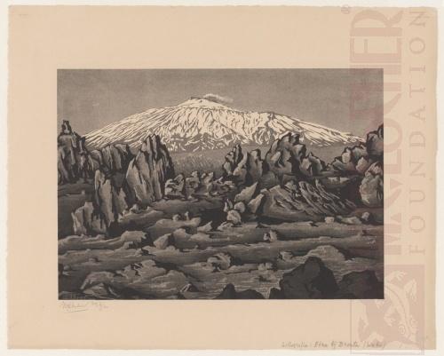 Oude lava van de Etna bij Bronte, Sicilië. Februari 1933, Lithografie