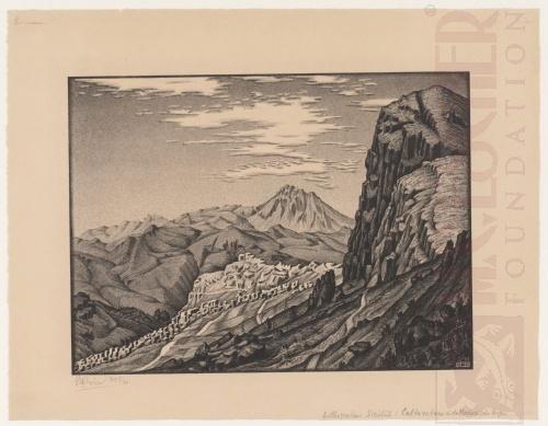 Caltatvuturo in de bergen van Madonie, Sicilië. Februari 1933, Lithografie