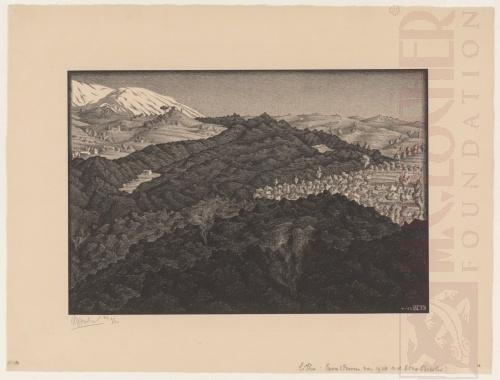 Lavastroom van 1928 Vanaf de Etna. Sicilië, April 1933, Lithografie