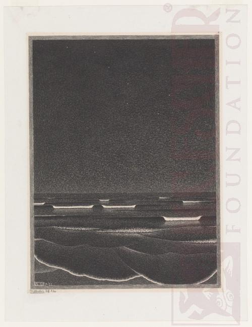 Fosforiscerende zee. Juli1933, Lithografie