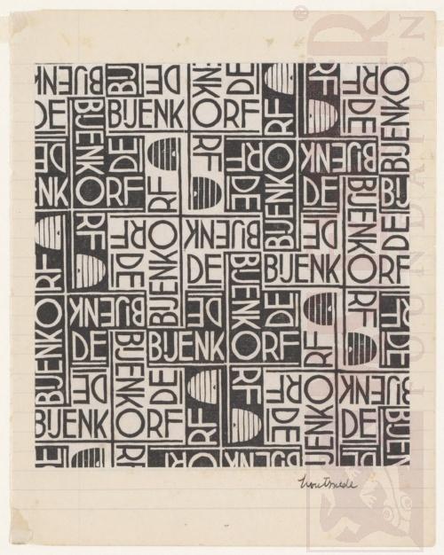 Ontwerp voor pakpapier, de Bijenkorf. September 1933, Houtsnede