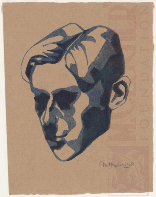 Zelfportret. 1918, Linoleumsnede uit twee blokken