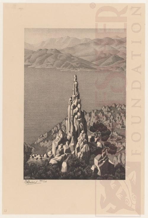 Calanche, Corsica. Januari 1934, Lithografie