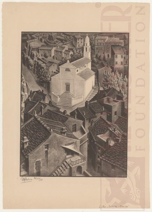 Nonza, Corsica. Februari 1934, Lithografie