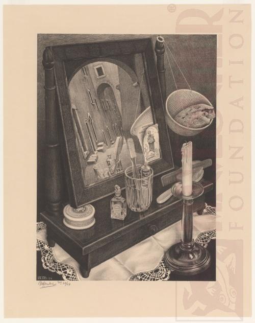 Stilleven met Spiegel. Mart 1934, Lithografie