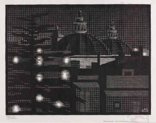 Rome bij nacht: Domes kerk. Maart 1934, Houtsnede
