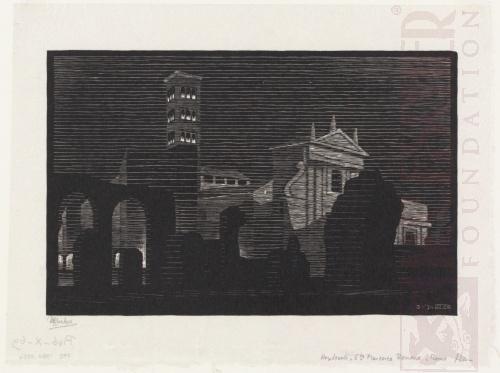 Rome bij nacht: Santa Francesca Romana. Maart 1934, Houtsnede