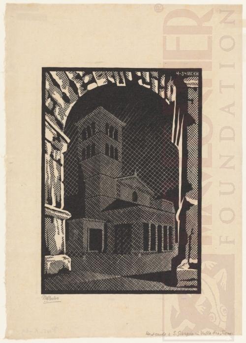 Rome bij nacht: San Giorgo in Vellabro. April 1934, Houtsnede
