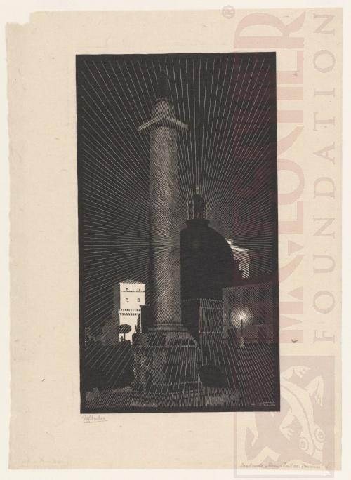 Rome bij nacht: Trajans Kolom. Mei 1934, Houtsnede