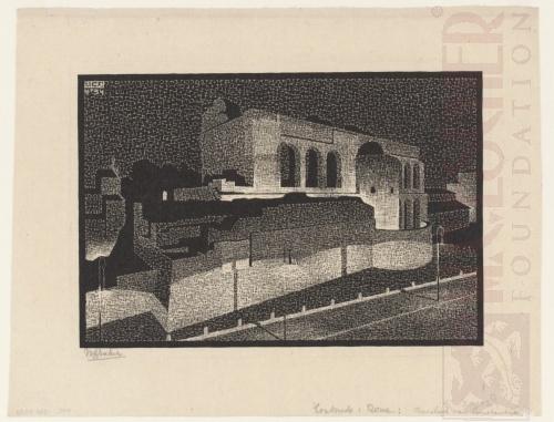 Rome bij nacht: Basilica van Constatine. April 1934, Houtsnede
