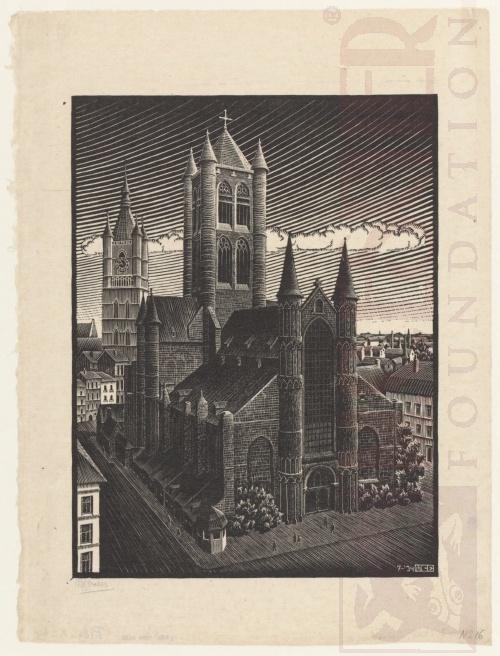 St. Bavo, Gent. Juli 1934, Houtsnede