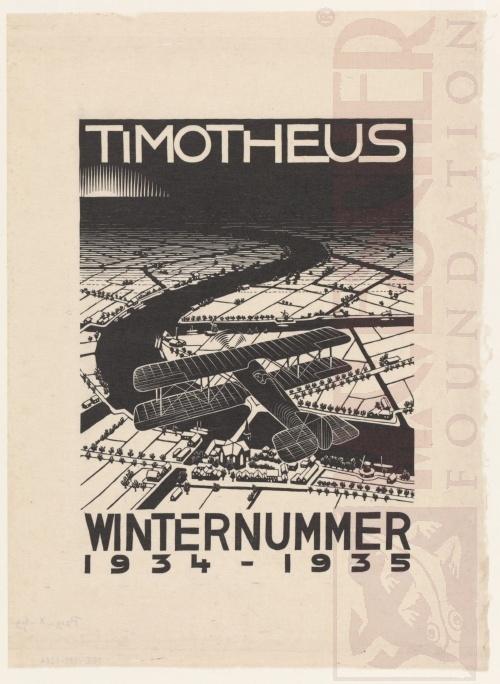 Vliegtuig boven een sneeuwlandschap, cover van Timotheus, winteruitgave 1934-1945. Oktober 1934, Houtsnede