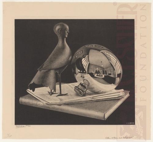 Stilleven met ronde spiegel. November 1934, Lithografie