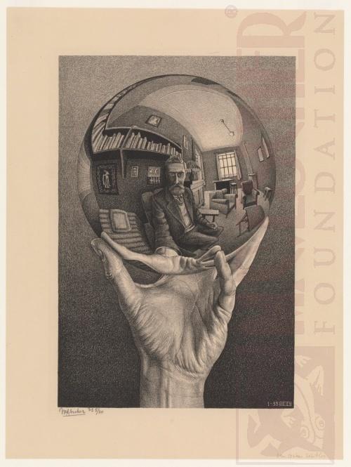 Hand met reflecterende bol (zelfportret in bolle spiegel). Januari 1935, Lithografie