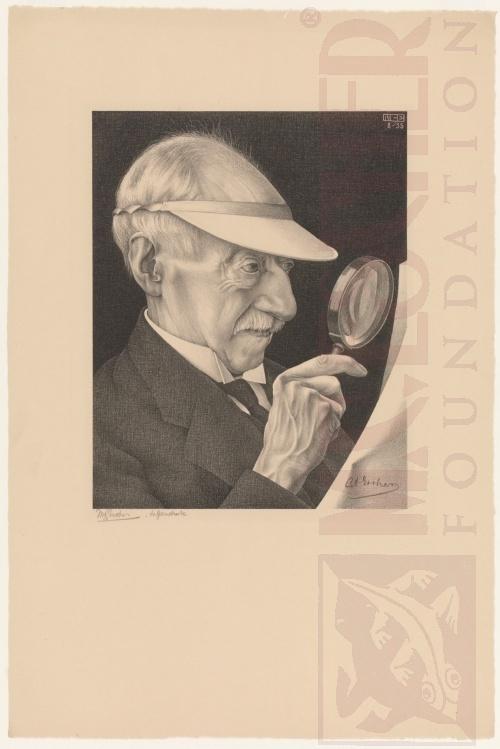 Portert van G.A. Escher.Augustus 1935, Lithografie