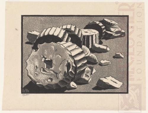 Selinunte (Sicilië). Oktober 1935, Houtsnede afgedrukt van twee blokken