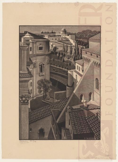 Tussen de St Pieter en de Sixtijnse Kapel. Maart 1936, Lithografie