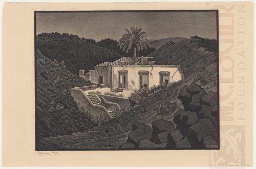Huis omringd door lava, Nunziata. Augustus 1936, Lithografie