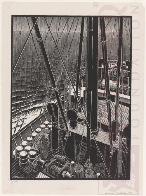 Vrachtschip. September 1936, Houtsnede
