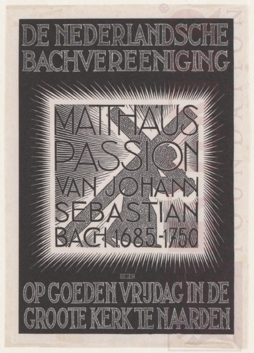Programma Mattheus Passion. Februari 1938, houtsnede