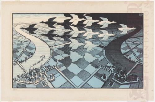 Dag en Nacht. Februari 1938,Houtsnede, blauwe variant