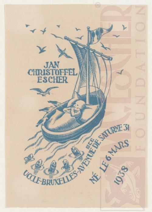 Geboortekaartje Jan Escher. Maart 1938, Houtsnede