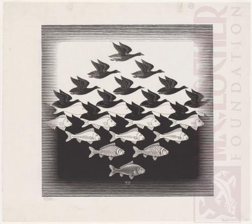 Lucht en Water. Juni 1938, Houtsnede