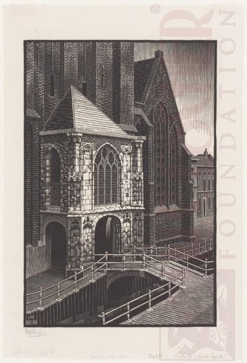 Delft: Ingang van de Oude Kerk. Januari1939, Houtsnede