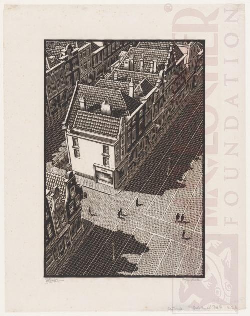Delft: Grote Markt vanuit de toren van de Nieuwe Kerk. Mei 1938, Houtsnede